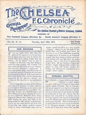 Chelsea v Reading South Eastern League 1913/14 - 4 Page programme