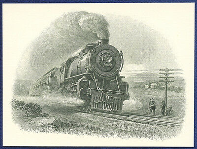 AMERICAN BANK NOTE Co. ENGRAVING: RAILROAD FULL STEAM