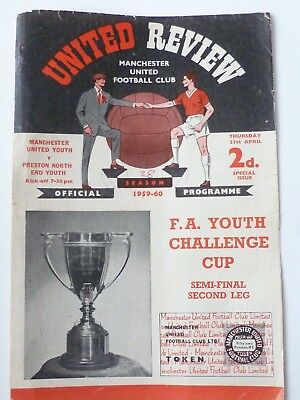 1960Special Issue Manchester United V Preston North End Youth Cup Good Condition