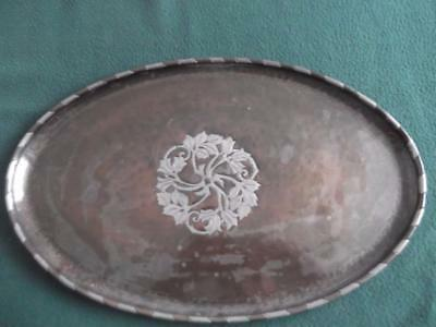 Arts & Crafts Hugh Wallis Oval Copper Tray With Pewter Inlay Decoration
