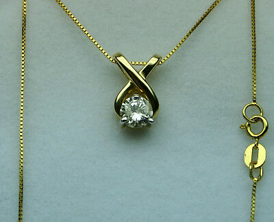 Diamond solitaire necklace 0.50ct+ 1990's No Reserve! 14kt yellow gold XO style