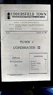 4 December 1946: Huddersfield Town v Copenhagen XI. Friendly. Rare
