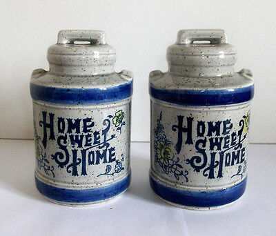 Salt and Pepper Shakers Cruet Pots Ceramic Made in Japan Home Sweet Home New
