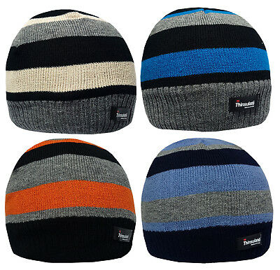 b3923b889 3 BOYS BEANIE Hats Stripe Design Thinsulate Kids Winter Warm Striped  Multipack