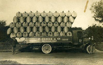 Tenderden - Kent - G. Corke Lorry Loaded With Hop Sacks - Old  Rp Postcard View
