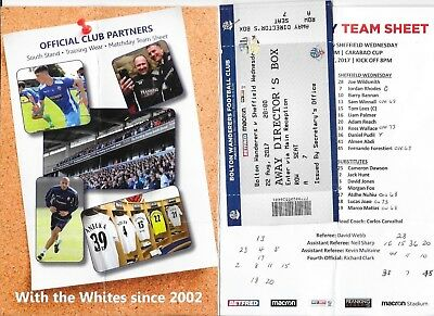 2017/18 TICKET & TEAM SHEET BOLTON v SHEFFIELD WEDNESDAY 22 AUG 2017 LEAGUE CUP