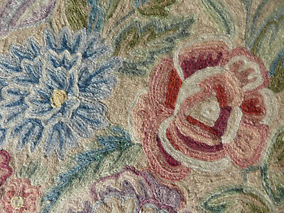 Fabulous crewel work embroidery of flowers 59cm x 64cm