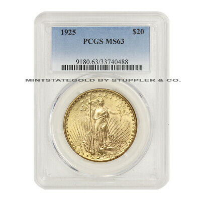 1925 $20 Saint Gaudens PCGS MS63 choice graded Philadelphia Gold Double Eagle