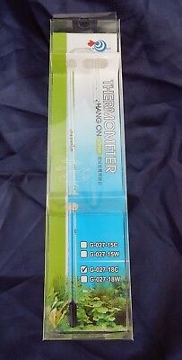AQUA WORLD Hang On Aquarium Thermometer 18C / 12 mm Max Glass Thickness - NEW