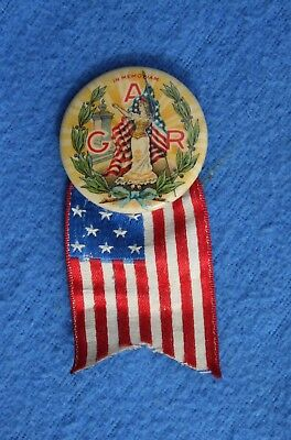 1889 In Memoriam GRAND ARMY of the REPUBLIC Celluloid Pin, Lady Liberty, US Flag