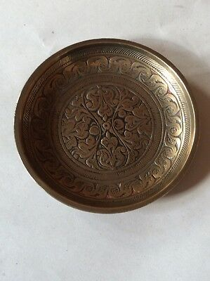 Small Vintage Brass Pin Dish Stamped K.K. Made In India