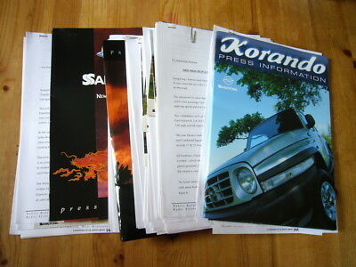 SsangYong Korando, Musso etc: job lot of 1990s-2000s press releases and photos