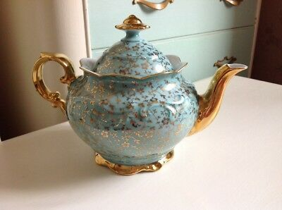 Very decorative duck egg blue and gold vintage tea pot