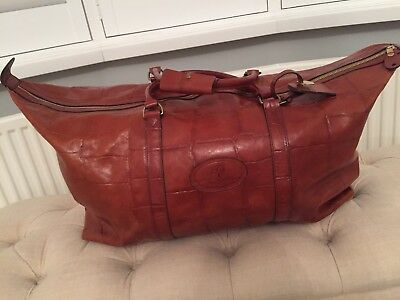 Mulberry Vintage Tan Congo Leather Travel Hold-all Weekend Clipper Bag