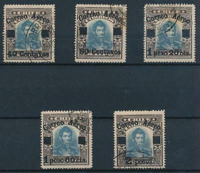 [38104] Chile 1927 Good RARE Airmail set Very Fine used stamps High Value