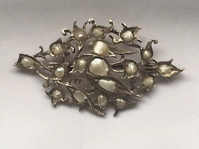 Rare Antique Tested Silver Split Pearl Paving Swallow  Pendant And Brooch