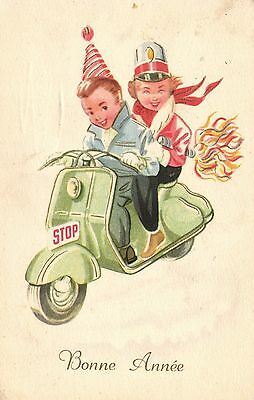 Scooter Vespa children going to a party artist postcard