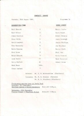 Huddersfield Town V Derby County-Pontins League-Programme-1990