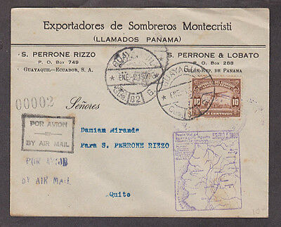 Ecuador - 1930 Business air mail cover with map and pilot autograph