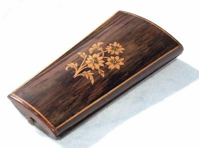 ANTIQUE 19th CENTURY ROSEWOOD ETUI SEWING CASE WITH SATINWOOD INLAY