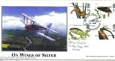 2001 Pond Life Great Britain Bhc Official Fdc Signed Raf Grp Capt Allan Wright