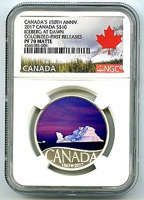 2017 $10 Canada 150Th Silver Proof Ngc Pf70 Iceberg At Dawn First Releases