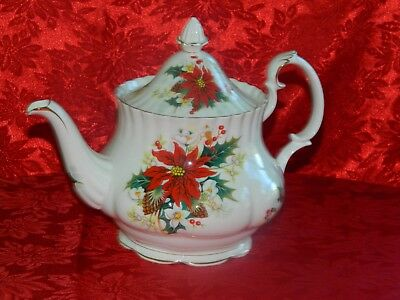 Vintage Royal Albert Christmas POINSETTIA Large Teapot  England 1976 - 1997