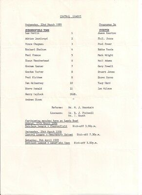 Huddersfield Town V Everton-Central League-Programme-1989