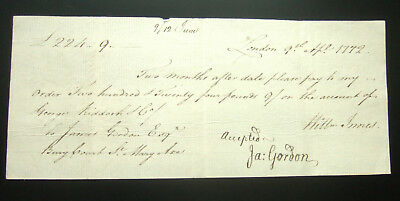 Antique Bill of Exchange 1772 for £224-9, James Gordon, St Mary Axe, London