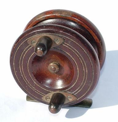 Antique Wooden & Brass Fishing Reel From Estate Clearance