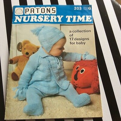 VINTAGE PATONS BABY NURSERY TIME KNITTING PATTERN BOOKLET 17 Baby Designs