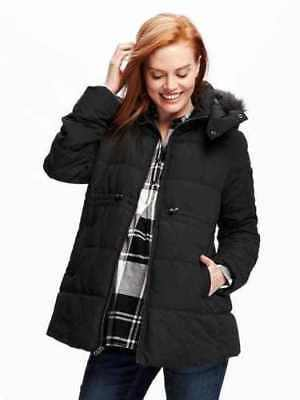 New Old Navy Maternity Black Fur Trimmed Hooded Jacket Large NWT Coat Puffer