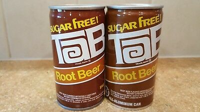 Tab Root Beer lot of 2 Pull Tab Soda Pop Cans 1 steel 1 early aluminum