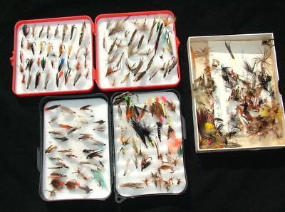 3 x BOXES OF VINTAGE FLY FISHING LURES FEATHERS FLIES - LOT 1