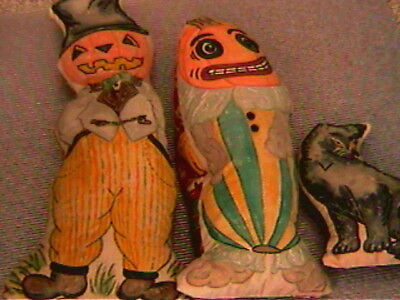 5 Vintage HALLOWEEN Antique Style Beautifully hand made/embroidered-Cats/Bat/ODD
