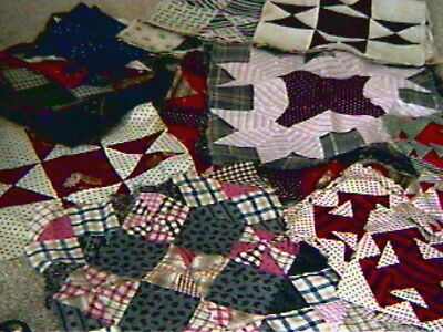 62 Antique Quilt Blocks-variety of size and pattern-hand pieced-estate