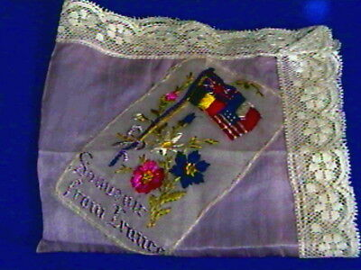 Lavender Antique WW I Silk Hanky-Embroidered Flags-excellent-lace border