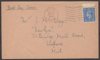 Great Britain, 1941 George VI 2½d Pale Ultramine FDC. Watford CDS. Cat £50