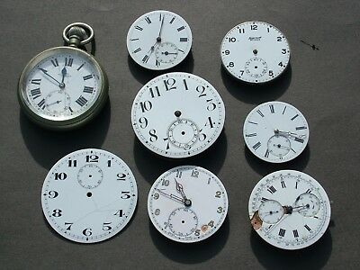 8 x POCKET WATCH MOVEMENTS FROM OLD CLOCK REPAIR SHOP - LOT 3