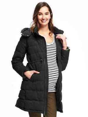 New Old Navy Maternity Black Fur Trimmed Hooded Jacket XXL NWT Coat Puffer