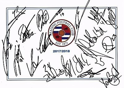 New, Reading Fc, 2017/18 Superb Signed A4 Card Sheet By  X19