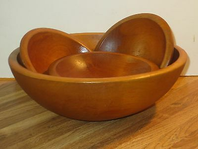 Primitive Wooden Dough Bowl With Four Smaller Wooden Bowls