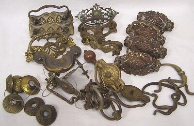 Vtg LOT Asst Brass Drawer Pulls and Hardware