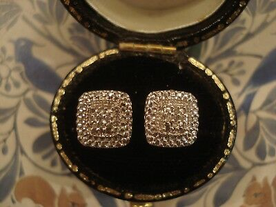 Beautiful Art Deco Inspired; 10 Sparkling Diamonds Set Sterling Silver Earrings