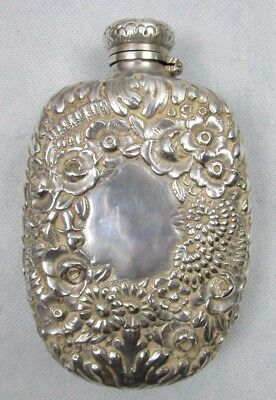 1885 Tiffany & Co Sterling Silver Repousse Aesthetic Floral Flask 1-1/2 Gills