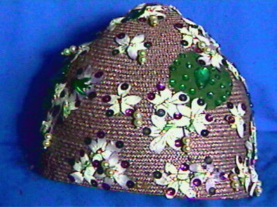 1920s Chanda Milgrim CLOCHE Hat-Taupe Straw w/ Trims all over-Funky Fun-exclnt