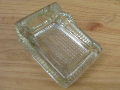Vintage Oblong Single Glass Inkwell with Pen Rest