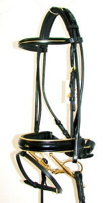 FSS GOLD Piping PATENT GLOSS Padded Comfort Poll ROLLED Crank Flash BRIDLE Brass