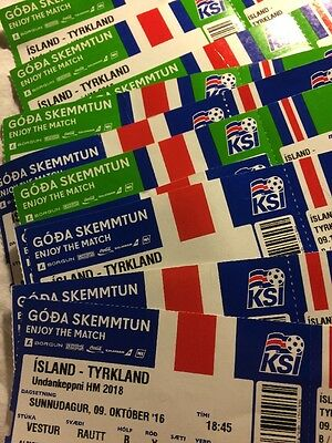 World Cup Qualifier 2018 Used Ticket Iceland V Turkey 9/10/2016 and teamsheet