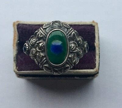 Silver peacock eye sapphire arts and crafts ring  Very attractive